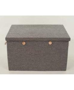 Κουτί Λινό Γκρι με Κουμπιά