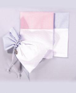Πουγκί Ριγέ με Λευκό Ύφασμα Οριζόντιο (ροζ - σιέλ)