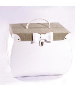Τσάντα Λευκή με Καμβά και Φιογκάκι