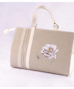 τσάντα με λουλούδι βάπτισης