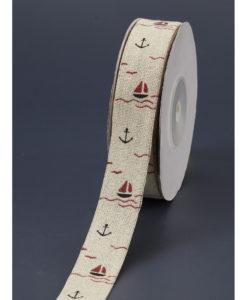 Κορδέλα Λινή Με Ναυτίκο Σχέδιο 4cm x 20yrd