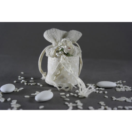 Μπομπονιέρα αρραβώνα πουγκάκι με λουλουδάκι