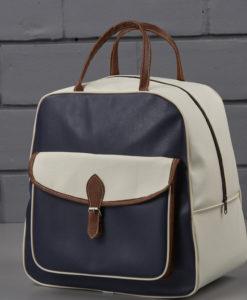 τσάντα μπλε - καφέ