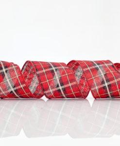Χριστουγεννιάτικη Κορδέλα Καρό Κόκκινο Με Ασημί