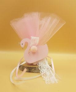 μπομπονιέρα κύκνος ροζ