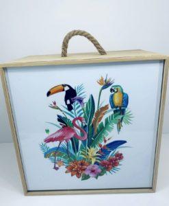 ξύλινο κουτί εξωτικά πουλιά